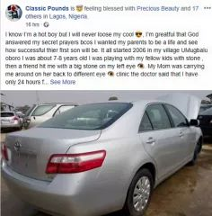 Nigerian man buys a car for his father who sold his motorcycle years ago to save his eye.