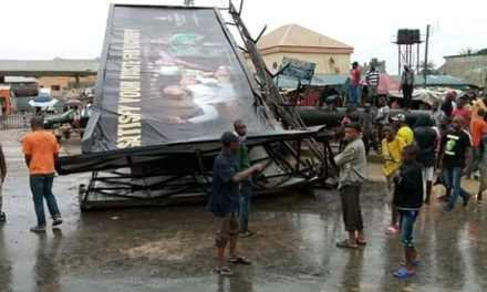 One dead and one left hospitalized after billboard falls in Aba (Photos)