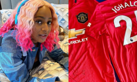 DJ Cuppy gets signed jersey after joining Manchester United