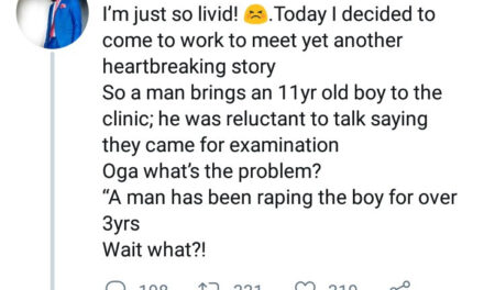 Medical Doctor narrates his encounter with an 11 years old boy who was raped for 3 years by a former neigbour and had maggots coming out of his butt