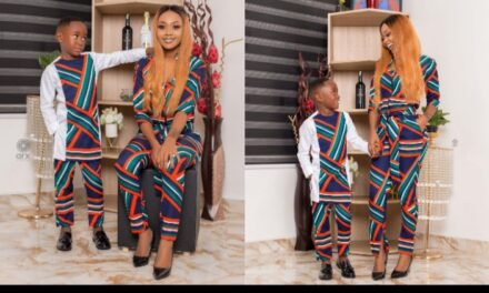 Ghanaian actress, Akupem Poloo goes naked in front of her son to wish him a happy 7th birthday because 'she gave birth to him naked'