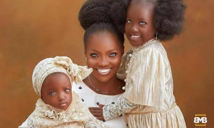 Stunning new photo of Kwara mother and daughters who went viral recently because of their blue eyes