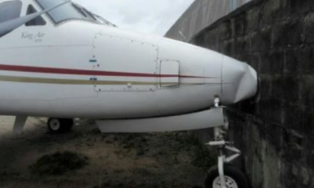 Jet runs into fence at Lagos airport after brake failure