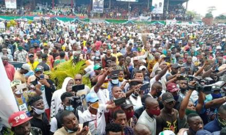 Massive crowd as Oshiomhole, Ganduje and others storm Edo ahead of elections