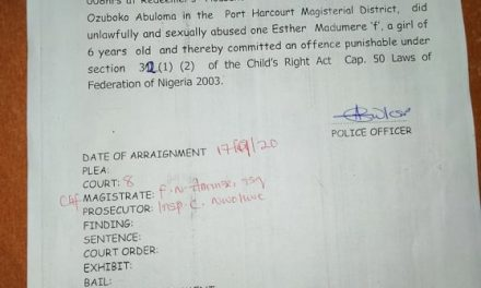 54 years old man in Court for allegedly raping 6-year-old orphan inside church in Port Harcourt