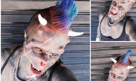 Man improves more on his body modification to look like satan