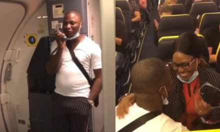 Nigerian man proposes to girlfriend onboard an international flight