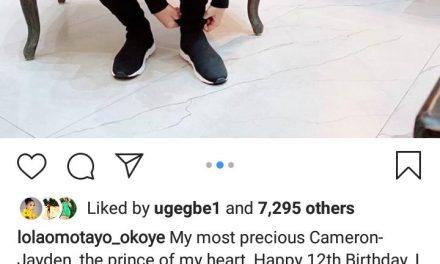 The son of Peter Okoye and Lola Omotayo-Okoye celebrates his 12 years birthday