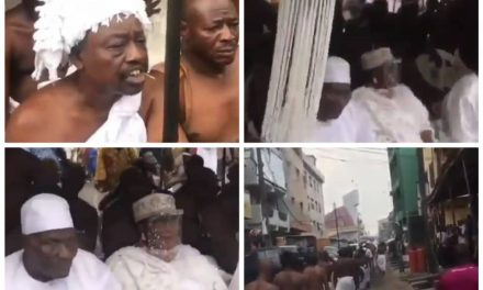 Ritual rites held at Isale Eko to welcome the Oba of Lagos and his staff of office to the palace